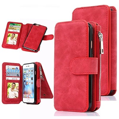 iPhone 6 Case, CaseUp 12 Card Slot Series - Premium Flip PU Leather Wallet Case Cover(レッド)お財布機能付き ...