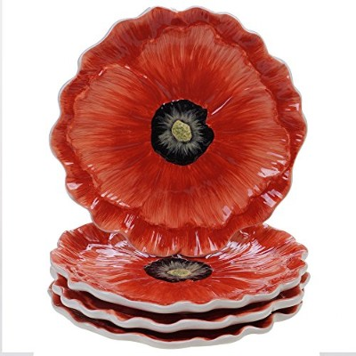 Certified International Poppy Garden 3-D Poppy Dessert Plate 20cm , Set of 4