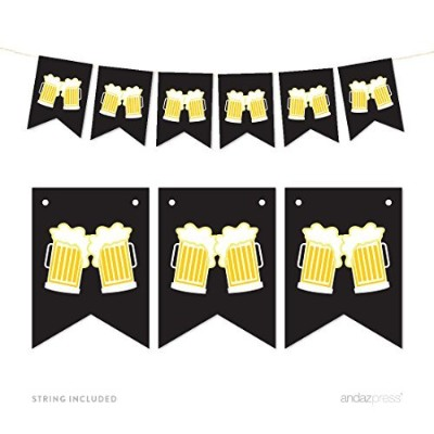 Andaz Press Hanging Pennant Party Banner with String, Beer Mugs Cheers!, 9-Feet, 1-Set, Decor Paper...