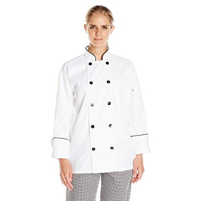 Uncommon Threads 0407-2502 Madrid Chef Coat in White with Black Piping - Small