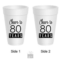 80th Birthday Styrofoamカップ – Cheers To 80年