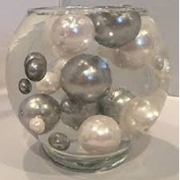 Easy Elegance White & Silver Pearl Beads Including Clear JellyBeadZテつョ Great for Wedding Centerpiece...