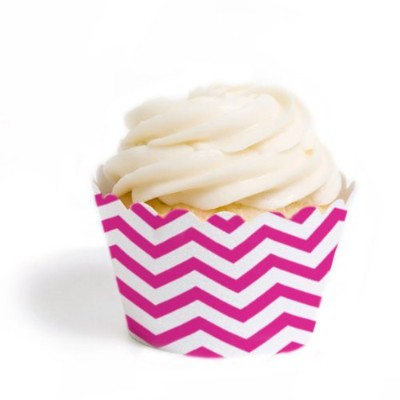 (Set of 50, Fuchsia) - Dress My Cupcake Standard Cupcake Wrappers, Chevron, Fuchsia, Set of 50