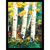 Framed Birch 's I byエリザベススタック12x 16アートプリントポスターフローラルホワイトSkinny Trees Yellow Red Flowers Painting