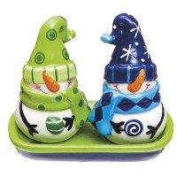 CypressホームセラミックFrost明るいSalt and Pepper Shaker Set withキャディ