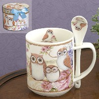 Bits and Pieces–10oz Owl Mug withティースプーン–Coffee And Tea Mug Comes In美しいギフトボックス