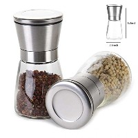 プレミアムステンレススチールSalt and Pepper Grinder 2のセット、One Hand Operated Salt Mill and Pepper Millセット...