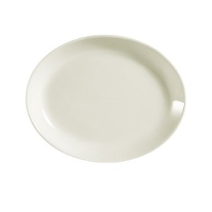 CAC中国Rolled Edge AmericanホワイトStoneware Coupe Oval Platter 11-1/2 by 9-1/4-Inch ホワイト REC-13C
