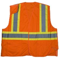 Mutual 16389 High Visibility Polyester ANSI Class 2 Solid Tearaway Safety Vest with Pockets and 4...