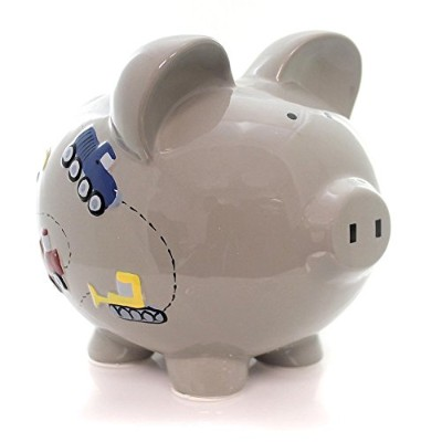 (Grey) - Child to Cherish Ceramic Piggy Bank for Boys, Construction Trucks, Grey