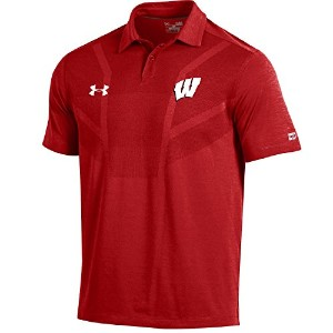 "Wisconsin Badgers under armour NCAA "" Tour ""メンズパフォーマンスポロシャツ L レッド"