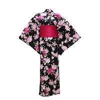 myKimono Women 's Traditional Japanese着物ローブ浴衣547 with Obi Belt & koshi-himoベルト& Geta Sandal / 4sets