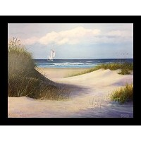 Framed Passing By Jacqueline Penney 16x 12アートプリントポスターCoastal Beachヨット夏