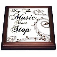 "Anne Marie Baugh – Phrases – May The Music Never Stop With Musical Notes – 五徳 8"" by 8"" ホワイト trv..."