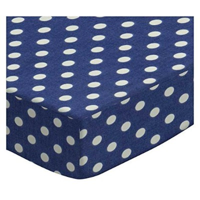 SheetWorld Fitted Bassinet Sheet - Primary Polka Dots Navy Woven - Made In USA by sheetworld