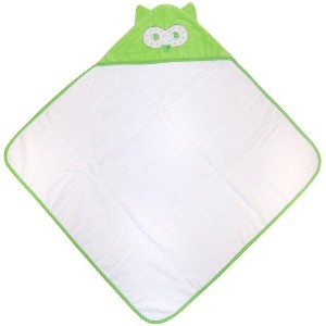 green sprouts by i play Velour Terry Hooded Towel - Owl by i play.
