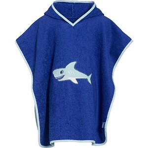 Playshoes Boys Shark Collection Cotton Hooded Bath Poncho (Large) by Playshoes