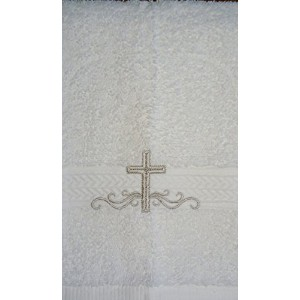 Integrity Designs Cotton Terrycloth Baptism/Christening Towel, White with Silver Cross and Scroll...
