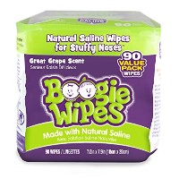 Boogie Wipes Natural Saline Kids and Baby Nose Wipes for Cold and Flu,Grape Scent, 90 Count by...
