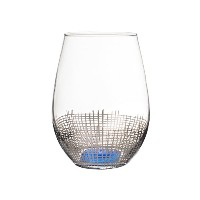 Fitz and Floyd 229140–4st Annalise Stemless Goblets、シルバー/ブルー