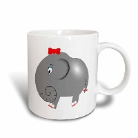 3dローズFlorene ChildrensアートII – Cute Little Gray Elephant with Red Bow – マグカップ 15-oz ホワイト mug_61794_2