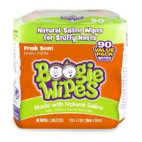 Boogie Wipes Natural Saline Kids and Baby Nose Wipes for Cold and Flu, Fresh Scent, 90 Count by...