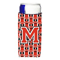 Letter M Football Scarlet andグレーUltra Beverage Insulators forスリム缶cj1067-mmuk
