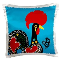 """3drose Belinha Fernandes–Theポルトガル語Rooster–青い背景に黒のポルトガル語Rooster with a Heart–枕ケース 16"""" x 16"""" pc..."""