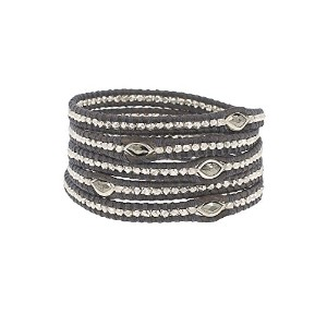 Chan Luu Marquise Pyrite Wrap Bracelet on Naturalグレーレザー