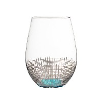 Fitz and Floyd 229141 – 4st Annalise Stemless Goblets、シルバー/ライトブルー