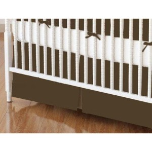 SheetWorld - Crib Skirt (28 x 52) - Solid Brown Woven - Made In USA by sheetworld