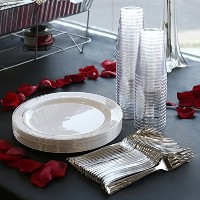Kayaコレクション–エッジ使い捨てプラスチックBuffet Package–Includesビュッフェプレート、フォークとTumblers 120 Person Package...