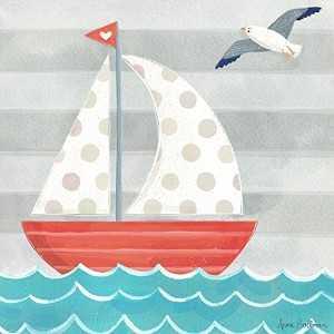 "Oopsy Daisy Fine Art for Kids Let 's Set Sail Boatキャンバス壁アートby Anne Bollman 14 x 14"" NB21614"