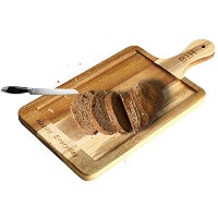 HTB Acacia木製チーズボード、Happy Everyday Engraved Charcuterie Slicing Platter and Serving Tray for...