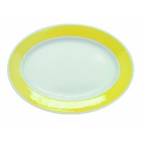 CAC中国レインボーRolled Edge Colored Stoneware Oval Platter 11-1/2-Inch by 8-1/4-Inch イエロー R-13-Y