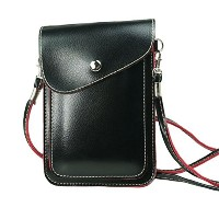 PU Leather 2 Layers Vertical Cellphone Pouch Bag with Shoulder Strap and Magnetic Button for Apple...