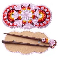 LA VIVA Seed Beaded Barrette Wood Stick Slide Pink Star Rosettes Hair Accessories Z40/2