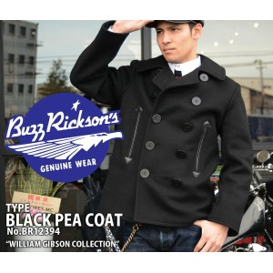 """【Buzz Rickson's バズリクソンズ】ジャケット(ピーコート)/BR12394 WILLIAM GIBSON COLLECTION """"TYPE BLACK PEA COAT""""!REAL..."""