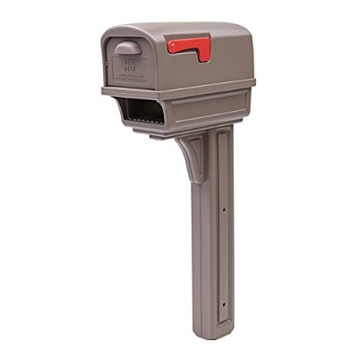Rubbermaid GC1M0000 Large Deluxe Plastic Mailbox and Post Combo, Mocha Solar [並行輸入品]
