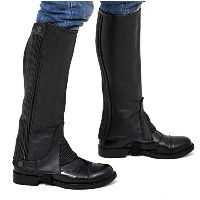"""Riders Trend Full Grain Leather Half Chaps (Black, CL = Calf (11.5 - 13)"""" x Height-13"""")"""