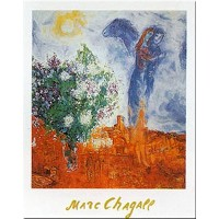 Couple Au Dessusセント・ポールby Marc Chagall 12 X 9.5アートプリントポスター