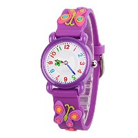 venhoo Kids Watches Cartoon防水シリコン子供腕時計Time Teacher Gifts for Boys Girls パープル