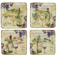 "Certified International Vinoカナッペプレート6、"" Set of 4 Assorted Designs"