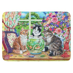 "Caroline 's Treasures cdco0325rug "" Cats Just Looking In The Fish Bowl ""フロアマット、19 "" x 27インチ、マルチカラー"