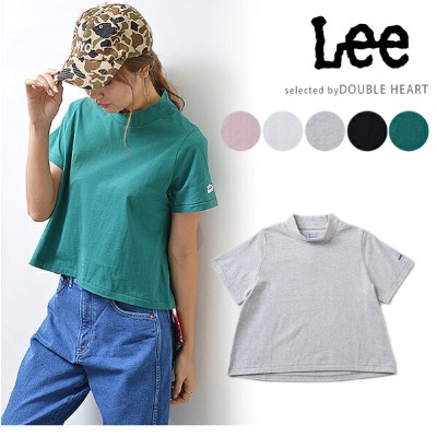 Lee リー Lee STAND UP COLLAR CROPPED TEE tシャツ レディース 半袖 綿100% スタンドカラー カットソー トップス 無地 ロゴ エドウィン ls7372