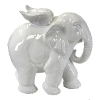Benzara Charmingly Designed Elephant Angel Figurine ,ホワイト動物Statue