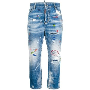 Dsquared2 distressed printed tomboy jeans - ブルー