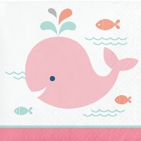 ピンクWhale Beverage Napkins ( 16 ct