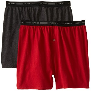Hanes 548KP2 Men Exposed Waistband Knit Boxer Pack - 2, Size Medium, Assorted