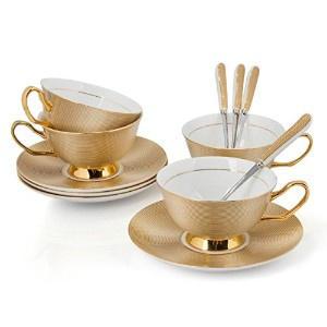 Ndht Bone Chinaティーカップ/コーヒーカップ、Saucersセットwith spoons-10.2oz、forホーム、レストラン、ゴールデン、withギフトボックス Set of 4...